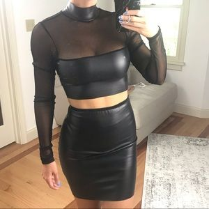 Two piece top and matching skirt faux leather set